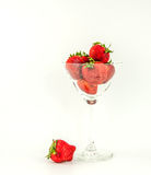Strawberry on a background of white, gray. Stock Photo