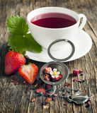 Strawberry Balsamico Herbal Tea. In cup stock images