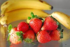 Strawberry banana. Fruit Strawberry with Banana background Stock Photos