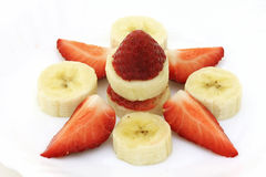 Strawberry and banana stock images
