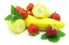 Strawberry with banana Royalty Free Stock Photo