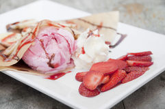 Strawberry banana crape. Royalty Free Stock Photo