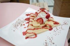 Strawberry banana crape Stock Images