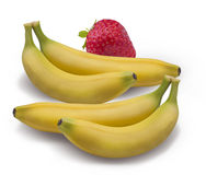 Strawberry banana isolated on white  Clipping Path Royalty Free Stock Photos