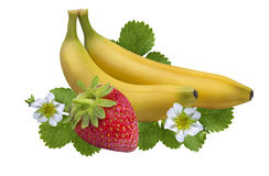 Strawberry banana isolated on white  Clipping Path Stock Photos