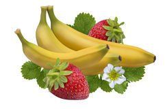 Strawberry banana isolated on white  Clipping Path Stock Image