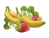 Strawberry banana isolated on white .Clipping Path Stock Photography