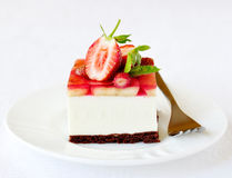 Strawberry and banana jelly mousse cake, selective focus Stock Photo