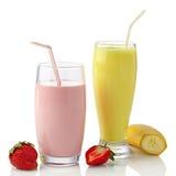 Strawberry and banana milkshakes Stock Photo