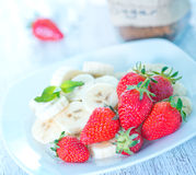 Strawberry with banana Royalty Free Stock Photos