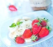 Strawberry with banana Royalty Free Stock Photos