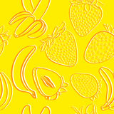 Strawberry and banana seamless pattern Stock Photos