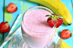 Strawberry and banana smoothie. Royalty Free Stock Images