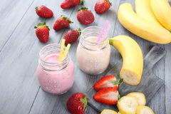 Strawberry and banana smoothie Royalty Free Stock Images