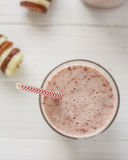 Strawberry Banana Smoothie. Healthy strawberry Banana Smoothie with colourful straws Stock Photos
