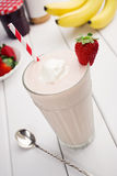 Strawberry Banana Smoothie with Ingredients Stock Photo