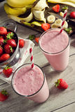 Strawberry Banana Smoothies with Ingredients Stock Photo