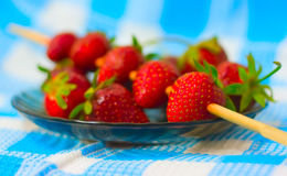 Strawberry barbecue on plate Stock Images