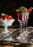 Strawberry and basil cocktails on silver tray stock photos