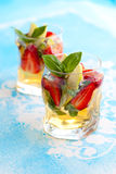 Strawberry Basil Sangria Stock Photo