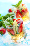 Strawberry Basil Sangria Royalty Free Stock Photo