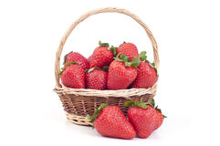 Strawberry in a basket Stock Photos