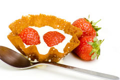 Strawberry basket. An ornate strawberry and cream dessert with fresh strawberries stock images