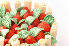 Strawberry basket cake Royalty Free Stock Images