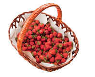 Strawberry basket isolated on white Royalty Free Stock Images