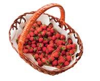 Strawberry basket isolated on white Royalty Free Stock Images
