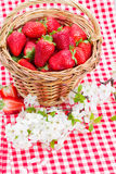 Strawberry in basket and spring  flowers Stock Photos