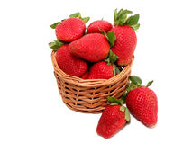 Strawberry basket on white Stock Photo