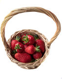 Strawberry in a basket on a white background. Red, juicy, ripe strawberry in a basket on a white background Royalty Free Stock Photography