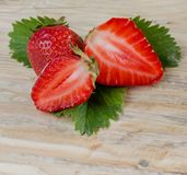 Strawberry. beautiful red strawberry on wooden background. Stock Photography