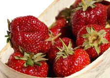 Strawberry berries in a bast basket Stock Photography