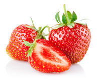 Strawberry berries with cut and green leaf Stock Photography