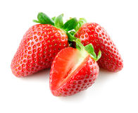 Strawberry. Berries with cut on white background. Stock Images