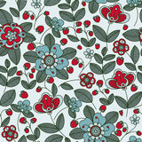 Strawberry berries and flowers seamless pattern Stock Images