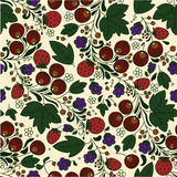 Strawberry, berries, leaves on a light background. Seamless texture in the Russian style Khokhloma with strawberry, berries, leaves on a light background Royalty Free Stock Images