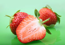 Strawberry berry on green Stock Photography