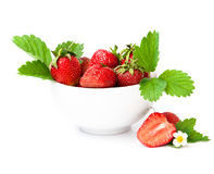 Strawberry berry with green leaf and flower Royalty Free Stock Images