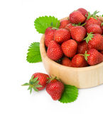 Strawberry berry with green leaf Stock Photos