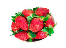 Strawberry berry with green leaf and mint isolated on white back. Ground, bright photo top view Stock Photography