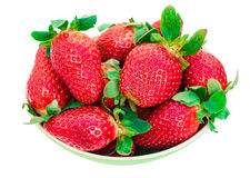 Strawberry berry with green leaf and mint  on white back. Ground, bright photo top view Royalty Free Stock Image