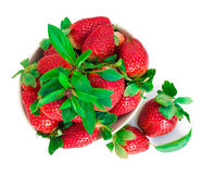 Strawberry berry with green leaf and mint  on white back. Ground, bright photo top view Stock Photo