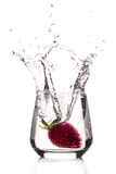 Strawberry big splash Royalty Free Stock Image