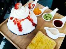 Strawberry Bing Su. Korean dessert Stock Image