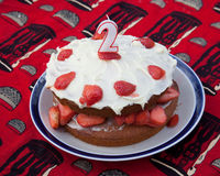 Strawberry birthday cake Royalty Free Stock Image