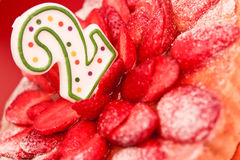 Strawberry birthday cake Royalty Free Stock Photography