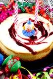Strawberry birthday cheesecake Royalty Free Stock Image